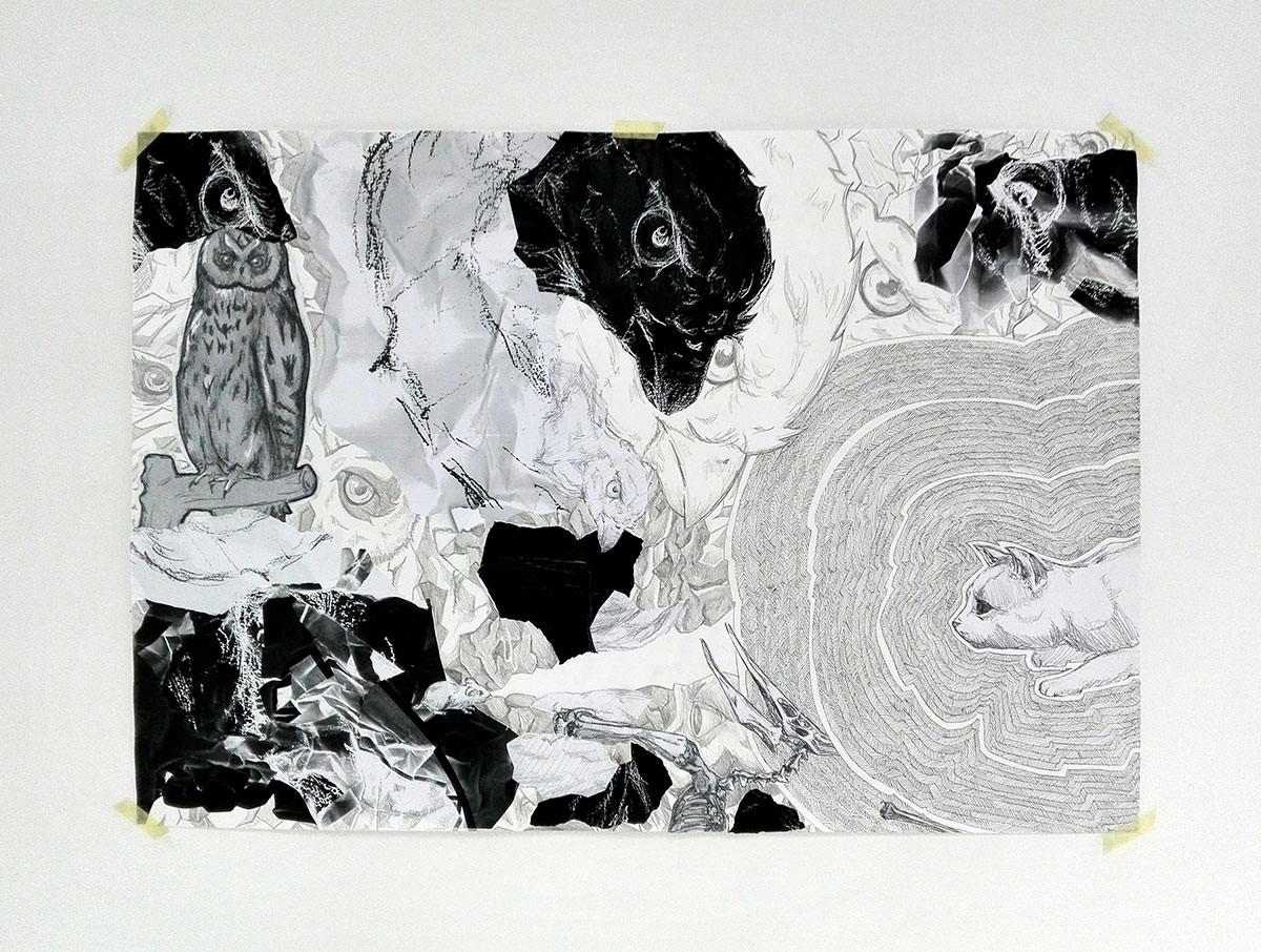 Sarah Schuchter Mixed Media auf Papier ca 60 x 90 cm